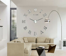 DIY Large Wall Clock Kit 3D Mirror Surface Sticker for Home Office Room Decor