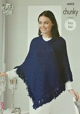 KNITTING PATTERN Ladies Easy Knit Fringed Poncho Chunky King Cole 4402