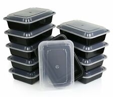 Microwavable Food Storage Container with Lid Bento Box, Black, 10-Pack