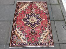 Old Traditional Persian Rug Wool Pink Red Oriental Rug Hand Made Rug 135x100cm