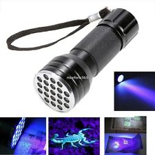 HOT Mini UV Ultra Violeta 21 LED Linterna Luz ultravioleta Aluminio Lámpara