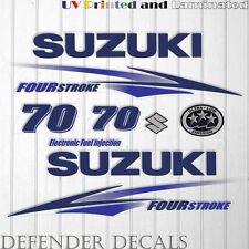 Suzuki 70 hp Four Stroke outboard engine decal sticker set kit reproduction BLUE