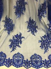 """ROYAL MESH W/ EMBROIDERY BEADS & SEQUINS BRIDAL LACE FABRIC 52"""" WIDE 1 YARD"""