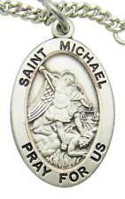 """MRT St Michael Sterling Silver Saint Protection Medal 3/4"""" w Chain Boxed Gift"""