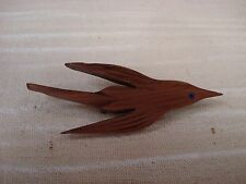 lot-u carved wooden wood Bird in Flight Brooch Pin handcrafted art