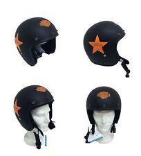 Casque Jet Petit approuvé Noir Mat Stella Orange Harley Davidson SZ XXL