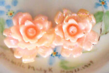 #827A Vintage Cabochon Pink Flower Flowers Roses Shabby Flowers Celluloid NOS AB