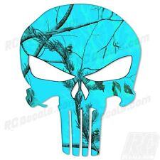 Punisher SKULL trailer Window Decal Decals Sticker Truck Realtree Blaze Blue
