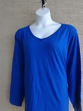 New Just  My Size L/S V Neck Rounded Bottom Cotton Blend  Tee Top  5X Royal Blue