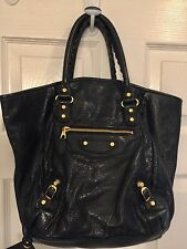 BALENCIAGA The Sunday tote bag Black Leather With Gold Hardware