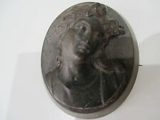 ANTIQUE WHITBY JET HAND CARVED CAMEO BROOCH