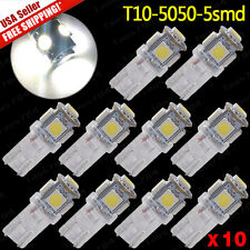10 PCS Pure White 6000K T10 5-SMD5050 Wedge W5W 192 168 194 License Plate Light