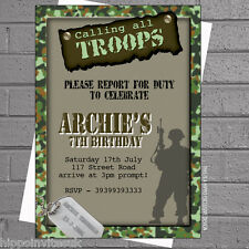 Boys Birthday Party Invitations Army Soldier Military Calling Troops x 12 H0223