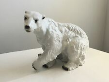 Royal Dux Polar Bear Large Figurine Statue Pottery Vintage Pink Triangle Mark