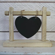 Rustic Wooden Heart Chalk Memo Board Blackboard Hung on Frame Stand Wedding Home