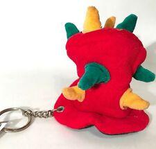 Crazy Red Top Mad Hatter Hat Witch Doctor Spikes Plush Keychain Hang Clip Rare