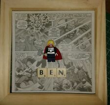 NEW HANDMADE PERSONALISED MARVEL THOR MINI FIGURE PICTURE (FITS LEGO) & SCRABBLE