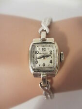 Vintage Ladies 14k White Solid Gold Wristwatch Watch
