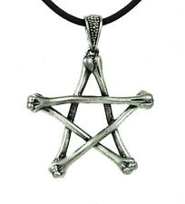 Skeleton Bone Pentagram Necklace Gothic Wiccan Jewelry Deathrock Rockabilly Punk