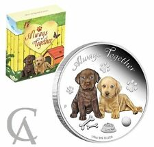 2016 Australia Silver Always Together - Dogs Puppies CUTE 999 Proof Coin