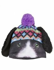 NWT Justice Girls Black Puppy Floppy Ears Mulit Color Puff-ball Winter Hat NEW