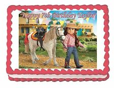 American Girl Saige edible party cake topper decoration frosting sheet image