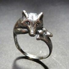 Grey Wolf Resting Wrap Around Ring