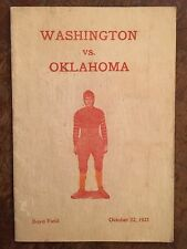 1921 Oklahoma vs Washington Football Program-BENNIE OWEN-JAP HASKELL-G.EDMONDSON