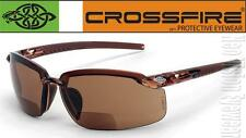 Crossfire ES5 2.5 HD Brown Bifocal Reading Magnifier Safety Glasses Sun Z87.1