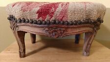"""Antique Petite 7.5"""" French Louis XV Carved Wood Needlepoint FootStool 2 Restore"""