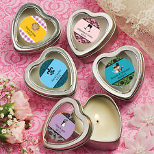 30 Personalized Heart Shaped Scented Candles Birthday Baby Party Wedding Favors