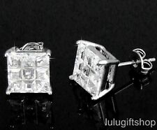 8MM SQUARE CUT CUBIC ZIRCONIA CZ HIP HOP MENS STUDS EARRINGS WHITE GOLD PLATED