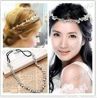 Women Floral shiny Crystal Bling Bride Wedding PARTY Hair Cuff Head band CHAIN