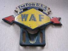 "1940's WW II ""I'm For U S A""  W A F Sunoco Gasoline Style License Plate Topper"