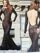 Black Geometric Designer Bombshell Stretch Sequins Lace Sold By The Yard