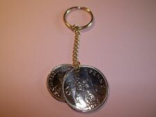 PENNY & HALFPENNY COIN KEY RING / CHAIN 1937 - 1967 PICK YOUR YEAR