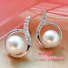 white Pearl and Rhinestone Crystal Stud Silver Diamonde Earrings
