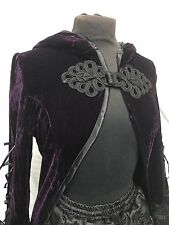 Gothic Victorian Romantic Long Cape With Bell Sleeves Dark Purple Riding Hood