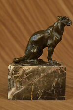 Signed Bronze French Bugatti Cougar Sculpture Art Deco Marble Base Figurine SALE