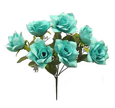 7 OPEN ROSES ~ TEAL TURQUOISE ~ Silk Wedding Flowers Bouquets Bridal Decorations