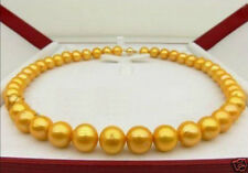 """Beautiful! 9-10MM SOUTH SEA GOLDEN PEARL NECKLACE 18"""" 14K Clasp"""
