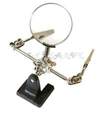 Hands free Magnifying magnifier hobby bench glass hand crocodile clips clamp