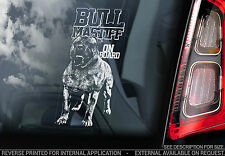 Bullmastiff - Car Window Sticker - Bull Mastiff Dog on Board Sign Art Gift -TYP2