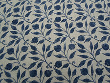 William Morris Curtain Fabric 'Rosehip' 2.45 METRES (245cm) Indigo - Linen Blend