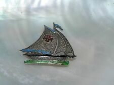 Vintage Silver Filigree w Green Red & Blue Enamel Sailing Ship Boat Pin Brooch