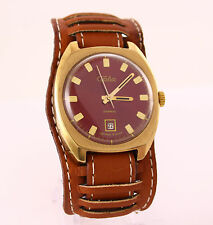 Vintage Slava 2414 gold plated men's USSR mechanical wristwatch date. Red dial