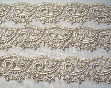 DENTELLE FINE VAGUE ARABESQUE BEIGE **27 mm** COUTURE SCRAPBOOKING POUPÉE