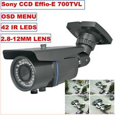 "CCTV Camera CCD 700TVL 1/3"" SONY Effio-E 42IR LED 2.8-12MM Lens Waterproof"