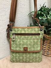 Fossil Marlow Green Canvas Leather Messenger Crossbody Bag Shoulder Handbag Key