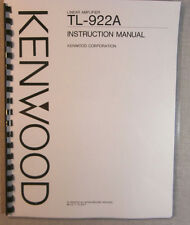 Kenwood TL-922A Instruction Manual - Premium Card Stock Covers & 28 LB Paper!